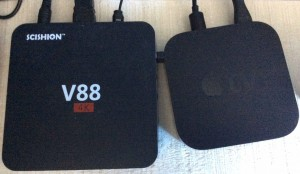 Apple-TV vs Android mediabox v88 afmeting